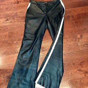 Gorgeous leather pants with white stripe